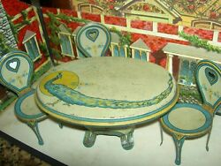 Great Set Of Chein, Ohio, Tin Lithographed Art Deco Oval Table And Matching Chairs