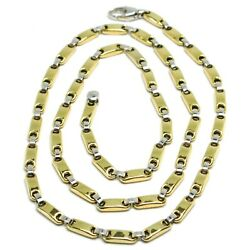 18k Yellow White Gold Chain Tube And Oval Alternate Link 20 Inches Italy Made