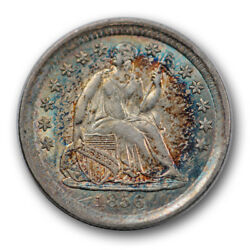 1856 H10c Liberty Seated Half Dime About Uncirculated To Ms Monster Toned R1196