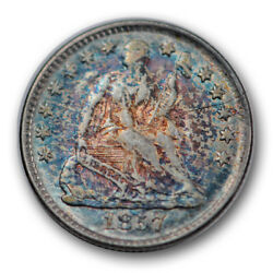 1857 H10c Liberty Seated Half Dime Monster Toned Colorful About Uncirculated ...