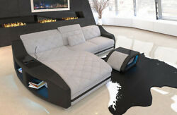 Fabric Sofa Palm Beach L Shape Designer Couch with LED Lights
