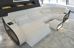 Sectional Fabric Sofa Daytona U Shape Designer Couch with LED Lights