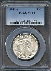 1941 S 50c Ms 64 Pcgs Mint State Uncirculated Walking Libery Silver Half Dollar