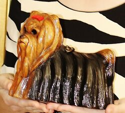 TIMMY WOODS YORKIE YORKSHIRE TERRIER DOG PURSE CLUTCH MINAUDIERE RED BOW