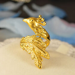 Pure 24k Yellow Gold Ring 3d Phoenix Shape Womanand039s Ring Size 8 Best Gift