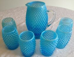 Fenton Art Glass Blue Opalescent Hobnail Tankard Pitcher And 6 Tumblers A9