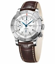 Longines Heritage Automatic Chronograph Steel Mens Strap Watch L2.741.4.73.2