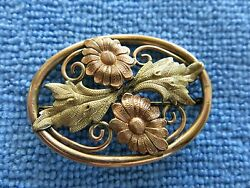 Victorian Brooch Flower Multi Colored Gold Filled 120 10K J.M.F. Co.  (941)
