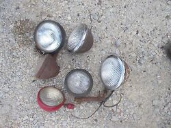 6 Farmall Ih Ford Jd Massey Tractor Front And Rear Head Light Lights And Bracket