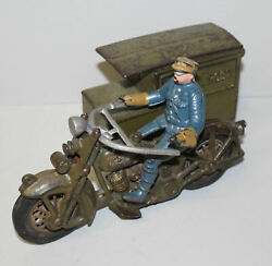 Cast Iron Hubley Motorcycle Toy With Attached Us Parcel Post Side Car