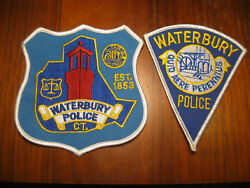 Waterbury Connecticut Police Patch Pair Of2 Different/one Money