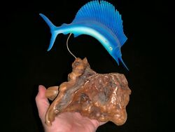 Vintage John Perry Blue Marlin Swordfish Jumping Out Water Sculpture 10/9 ❤️m9