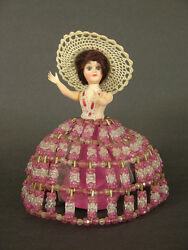 1950and039s-60and039s Home Made Southern Belle Safety Pin And Bead Doll 8