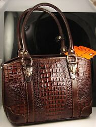 Marino Orlandi Brown Italian Leather Satchel Shoulder Hand Bag Made In Italy Nwt