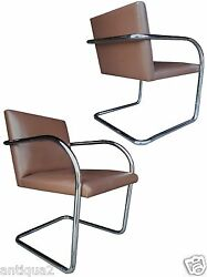 Pair Knoll Mies Van Der Rohe Styl Chrome And Leather Cantilever Lounge Arm Chairs
