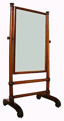 Rare Period English Regency Carved Rosewood Chevelle Neoclassic Dressing Mirror