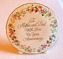 Mother And Dad W/ Love On Your Anniversary Porcelain 5.25 Bud Vase1985 Enesco