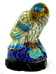 Vintage Cloisonne Copper Enamel Bird Young Owl Statue Figurine And Wooden Base