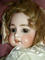 French Antique Bisque Dep 6 Jumeau Doll Pierced Ears Wood Body Signed Shoes