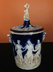 Gorgeous Italian Made In Italy Porcelain Glazed Flow Blue Jar With Lid Signed