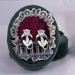 Vtg Beau Sterling Silver Cat Pin 3.3 Gram 2 Kitty On Fence Signed Brooch 1.5