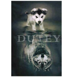 5D DIY Diamond Embroidery Diamond Painting Full SquareRound Drill Dog and wolf