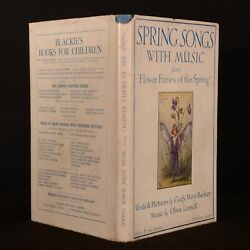 1925 Spring Songs With Music Flower Fairies Barker Linnel First Edition Illustra