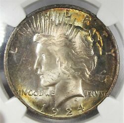 1924-p Silver Peace Dollar Ngc Ms64 Coin W/ Awesome Album Toning Sam1