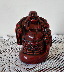 BUDDHA WOODEN RED STATUE 4quot; X 3quot; HEAVY 15.4 OZ.
