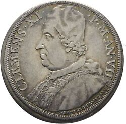 Rare 1707 Italy Papal States-vatican Clemens Large Silver Piastra