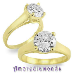 0.65 Ct Natural Round Diamond Solitaire Lucida Ring 18k Yellow Gold