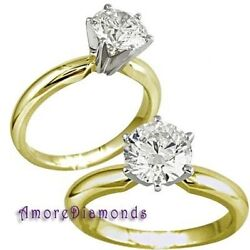 0.64 Ct Excellent Ideal Cut G Vs Round Diamond Solitaire Ring 18k Yellow Gold