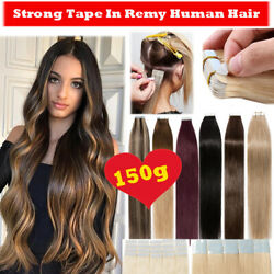 Tape In 100 Remy Human Hair Extensions Full Head With Strong Adhesive Tape Cy3