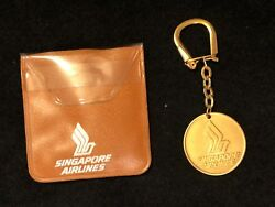 Vintage Sia Singapore Airlines Gold Coin Keychain And Case