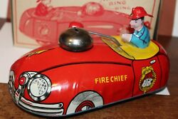 Very Nice Vintage T. Cohn 34 Metal Fire Chief Action Pull Toy Car In Box