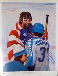 Herb Brooks Autographed Signed 19x24 Lithograph Photo Team USA Beckett #C24273