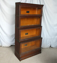 Antique Oak sectional Bookcase – double step back – Macey – original finish
