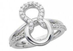 0.35 Ct F Vs Natural Round Diamond Love Knot Fashion Cocktail Ring 14k Gold