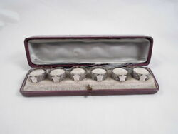 American Coin Silver Set 6 Small Sized Napkin Rings Cased Not Sterling Foliate U
