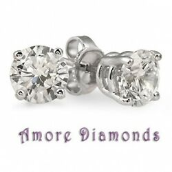 1.02 Ct E I1 Natural Round Ideal Diamond Solitaire Stud Earrings 18k White Gold