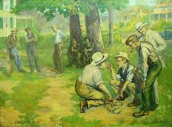 Alfred James Dewey Usa 1874-1958 O/c Summer Horseshoes Game At The Park