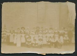 1870's Thanksgiving School Vintage Cabinet Photo Pilgrims And Indians In Costume