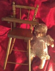 Vintage Cass Toys Dolls Wooden High Chair And Old Doll With Clothes Estate Items