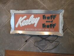 Vintage Keeley Half And Half Beer And Ale Lighted Glass Sign 1940's Chicago Rare
