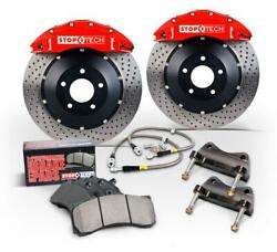 StopTech Big Brake Kit Front Red ST-60 Calipers Slotted for 02-07 Subaru WRX