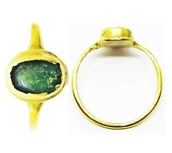 13th - 14th Century A.d. Medieval Ladies Gold And Emerald Finger Ring Size 5 3/4