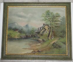 Antique Landscape Oil Painting On Canvas W Farm Mill On A Creek Artist Signed