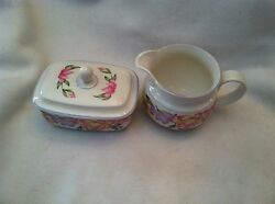 Royal Doulton Expressions Blooms Lidded Sugar Bowl And Creamer/pitcher