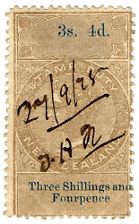 I.b New Zealand Revenue Stamp Duty 3/4d Reversed And Inverted Watermark
