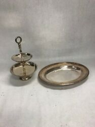 Vintage Silver Plated Tray Beaded Rogers Bros Dish 2 Tier Serving Dept 56 2 Pcs